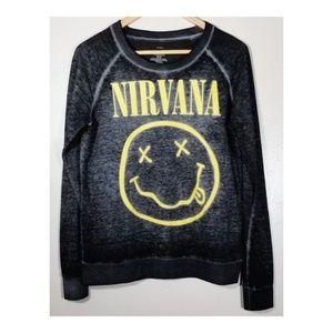 Nirvana Grunge Tee Shirt Top, Gray Yellow Smiley S